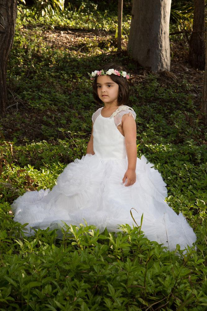 Свадьба - White or Ivory Ruffled Flowergirl Wedding Special Occasion Dress Customized