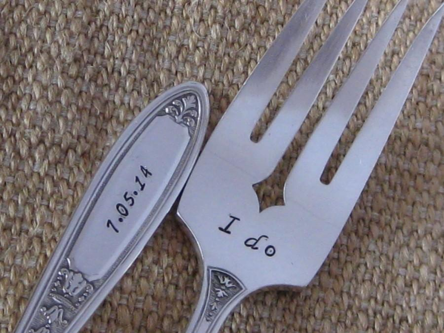 Свадьба - Vintage Antique Upcycled I Do & Me too Mr./Mrs. DATE ON HANDLES  Wedding or Anniversary Silver plated Hand Stamped Cake Dessert Fork Set