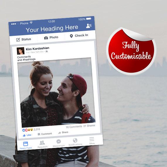 Свадьба - Facebook Frame Fully Customised Photo Booth Prop (Digital File) Facebook Prop