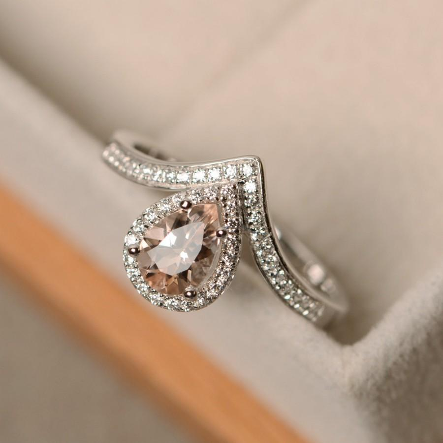 Hochzeit - Morganite ring, pear cut, sterling silver, engagement ring