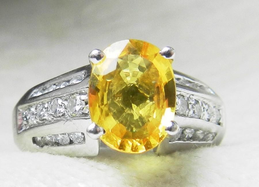 264ec441a1d88 Vintage Sapphire Ring Canary Yellow Sapphire Engagement Ring Natural ...