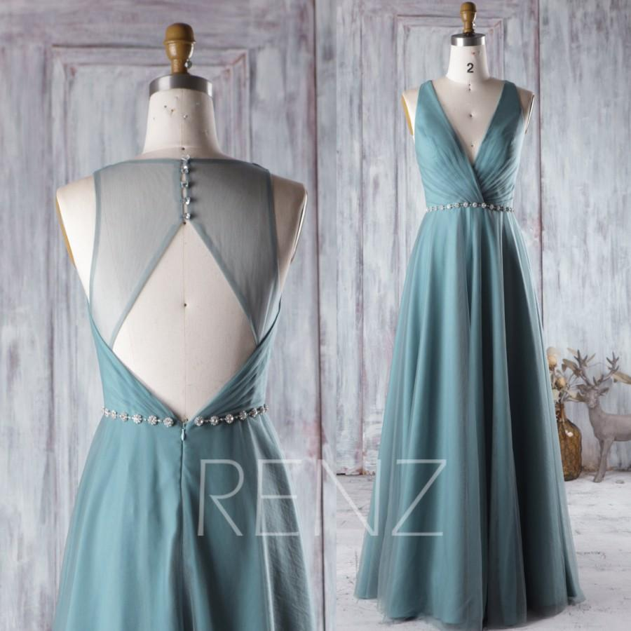 Свадьба - 2016 Long Dusty Green Bridesmaid Dress Long, Mesh Wedding Dress with Beading, Open Back Evening Gown, A Line Prom Dress Floor Length (HS260)