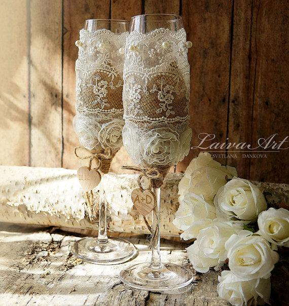 Rustic Wedding Champagne Flutes Toasting Glasses Bride And Groom