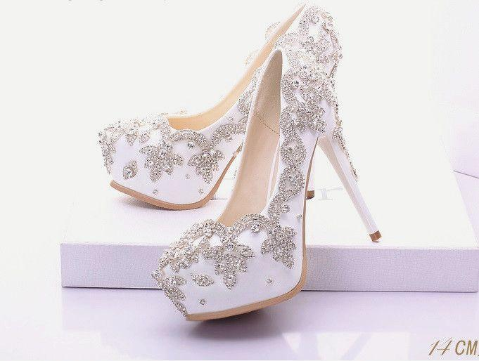 Wedding Heels With Rhinestones: White Silver Rhinestone Wedding Prom Shoes #2592399