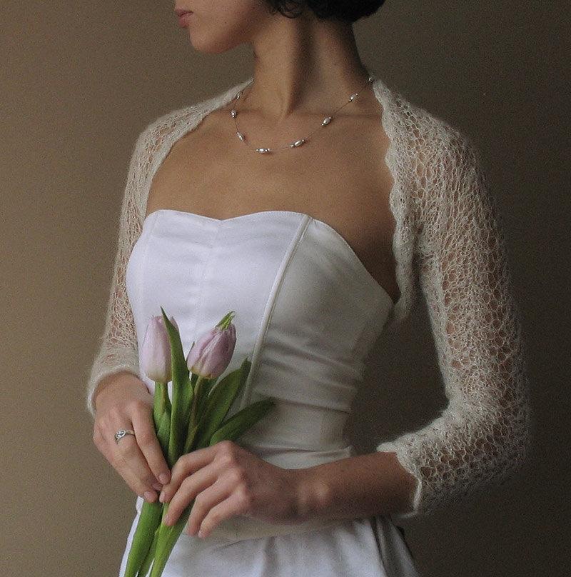 Свадьба - BRIDAL SHRUG wedding lace bolero light as a cloud color light cream mohair