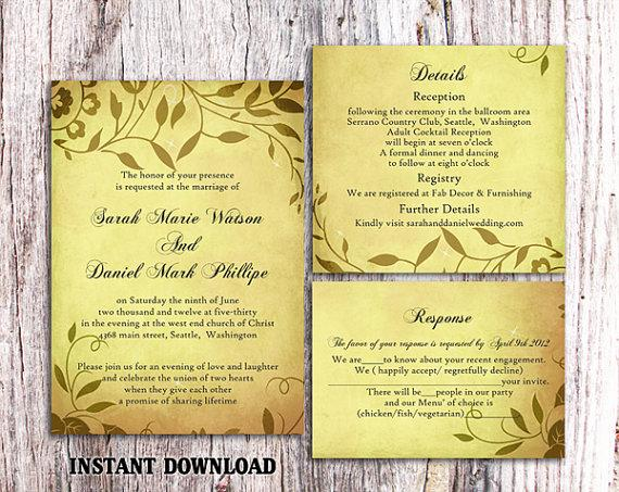 Wedding - DIY Rustic Wedding Invitation Template Set Editable Word File Download Printable Invitation Yellow Gold Invitation Leaf Wedding Invitation