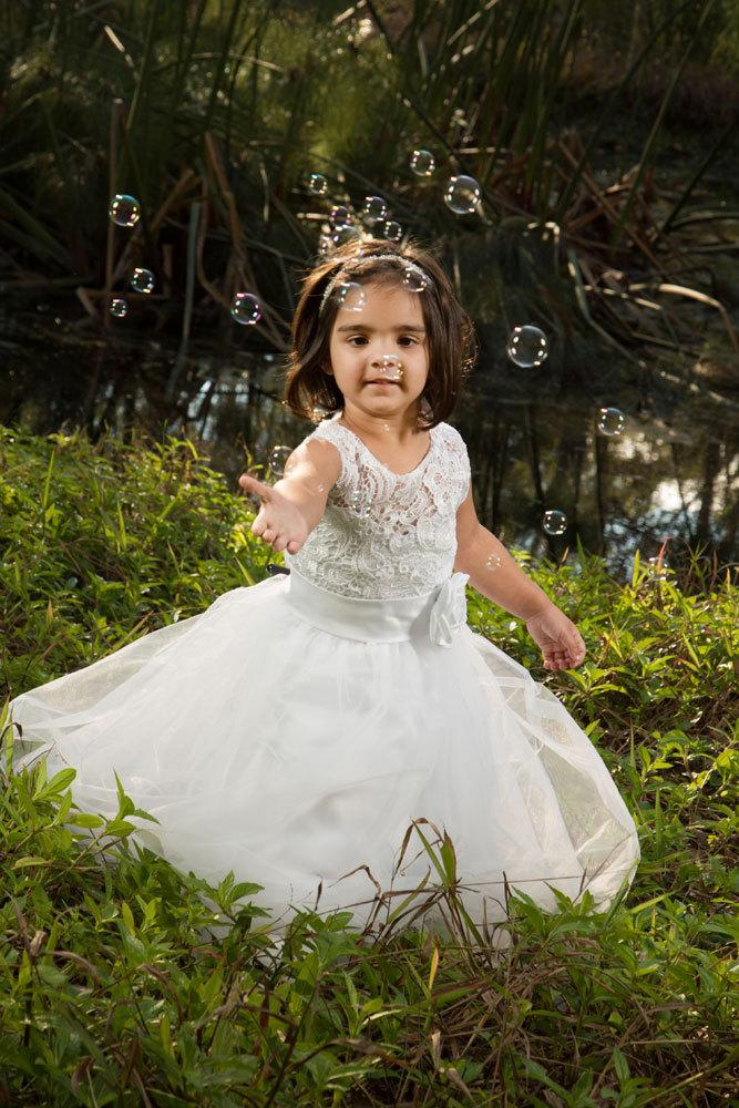 Свадьба - Elegant White Lace Flower Girl Christening Special Occasion Customized Dress