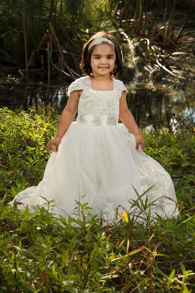 Свадьба - Lace capp sleeveTulle Flower Girl Christening Special Occasion long length Customized Dress