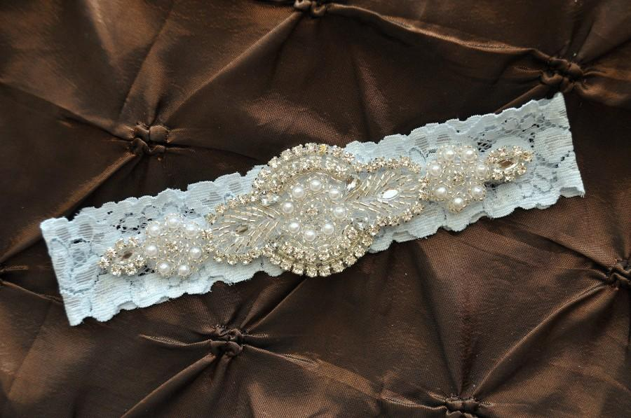 Wedding - Wedding Garter, Bridal Garter - Blue Lace Garter, Keepsake Garter, Crystal Embellishment, Blue Wedding Garter, Something Blue Garter