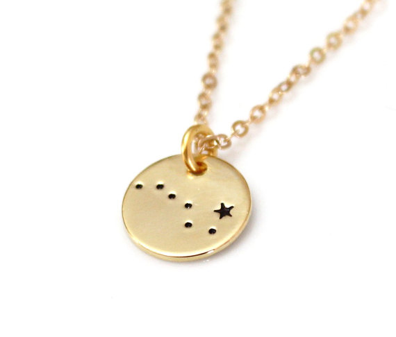 Wedding - Big Dipper, Sterling Silver, Hand Stamped Constellation Necklace, Ursa Major Gold Plated, Necklace Silver, Zodiac Jewelry, Birthday Gift
