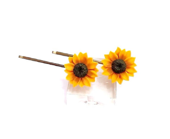 Wedding - Sunflower hairpin. sunflower hairpin . sunflower hair clip . summer hair accessories, Yellow Flower Hair pin, Wedding Hair Flower - set