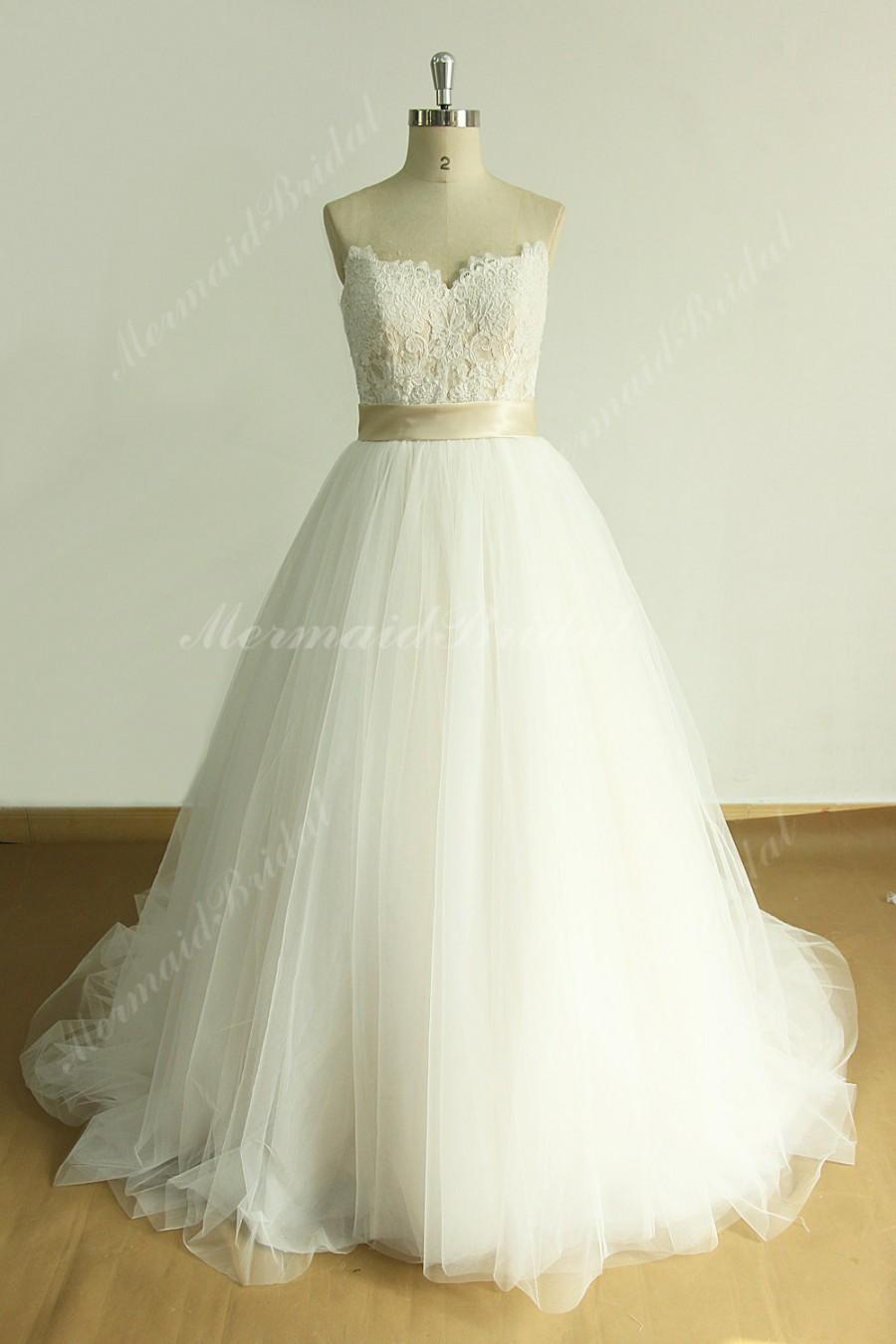 Romantic a line tulle lace wedding dress with sweetheart for A line sweetheart tulle wedding dress