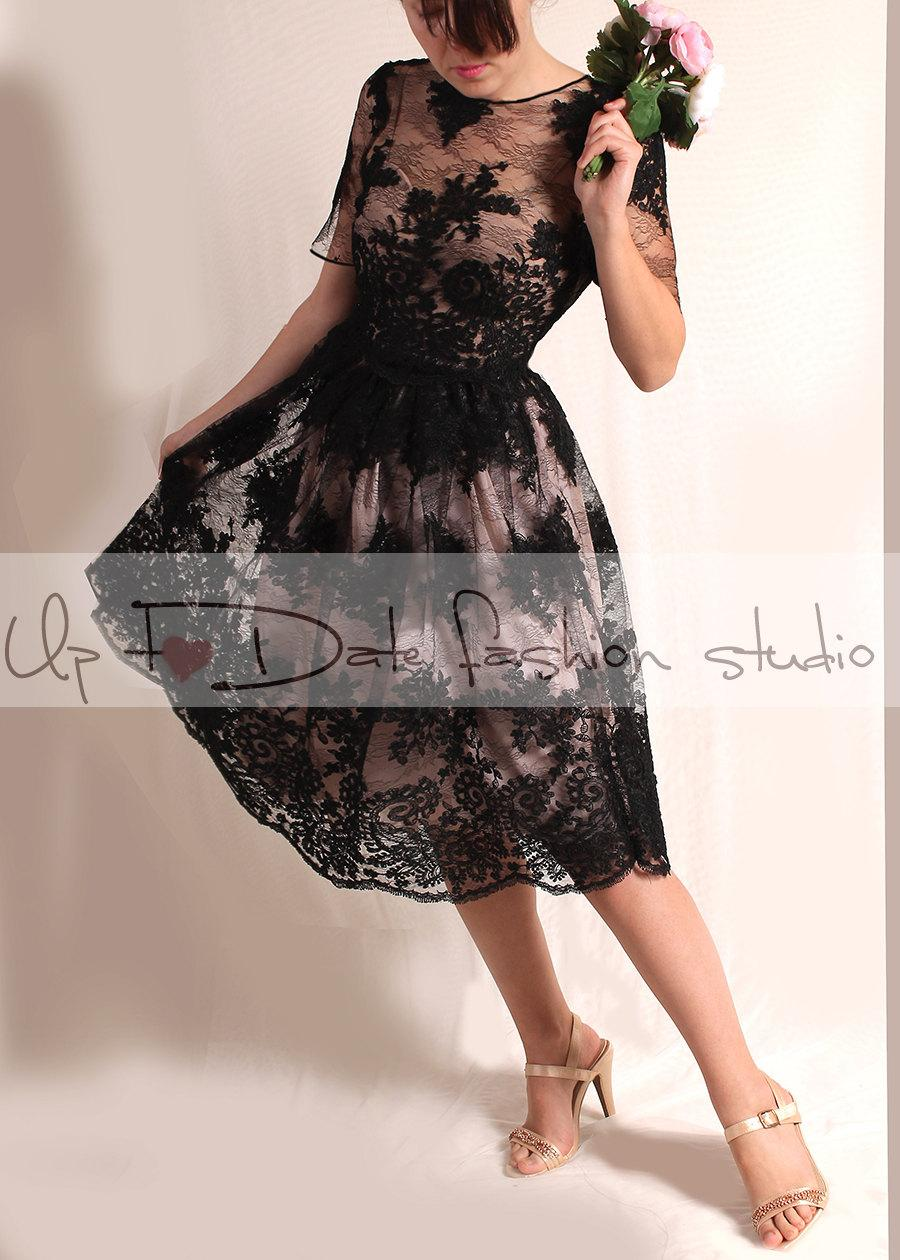 Plus size lace black short wedding dress plus size for Plus size black dresses for weddings
