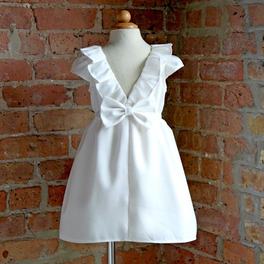 Hochzeit - White or Ivory Dress for Toddler or Girl, special occasion, flower girl, 1st communion