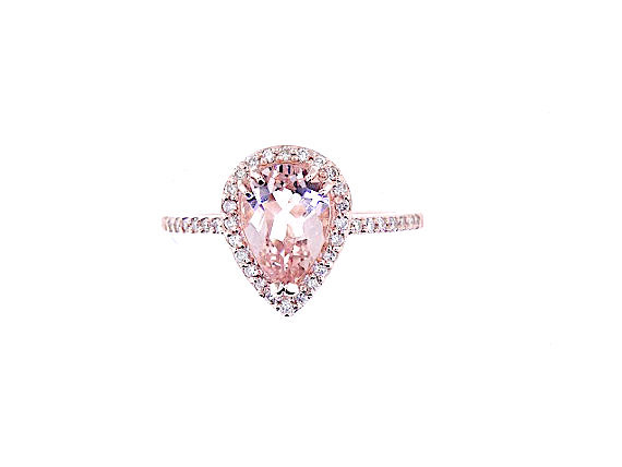 Hochzeit - 14K Rose Gold Natural Morganite and Diamond Halo Ring Pear Shape Art Deco Antique Engagement Ring Birthstone Ring Promise Ring White Gold