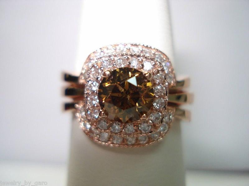 Mariage - 1.50 Carat  Bridal Set 14K Rose Gold Champagne & White Diamond Halo Engagement Ring Wedding and Anniversary Band Sets HandMade