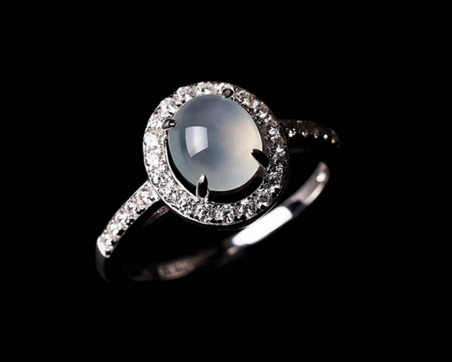Hochzeit - Fine Jadeite Classic Fine Sterling Silver Engagement Ring with CZ Embellished
