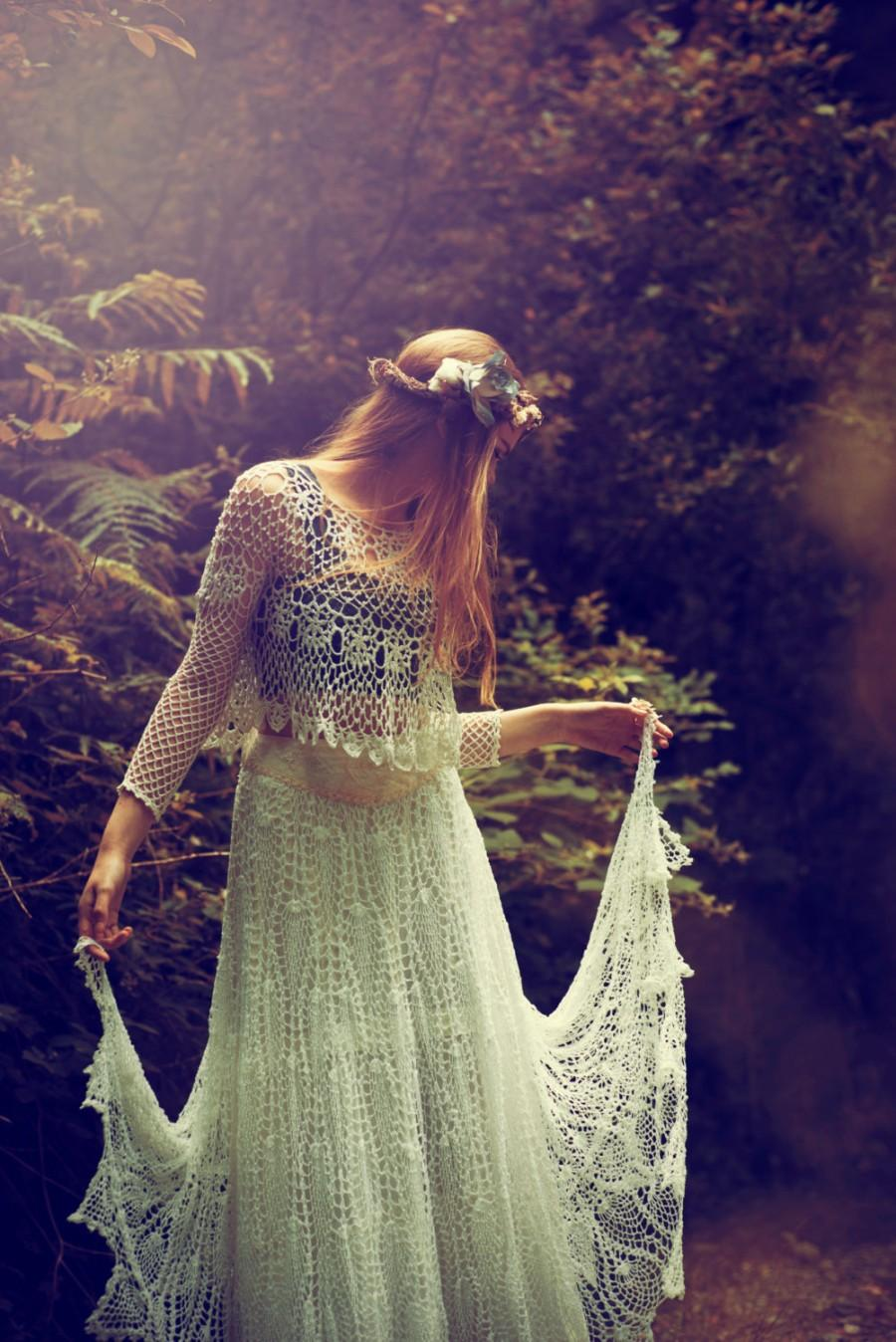 Hochzeit - White Lace Bridal Skirt, Crochet Lace Bridal Skirt, Boho bridal skirt, Vintage lace Wedding skirt