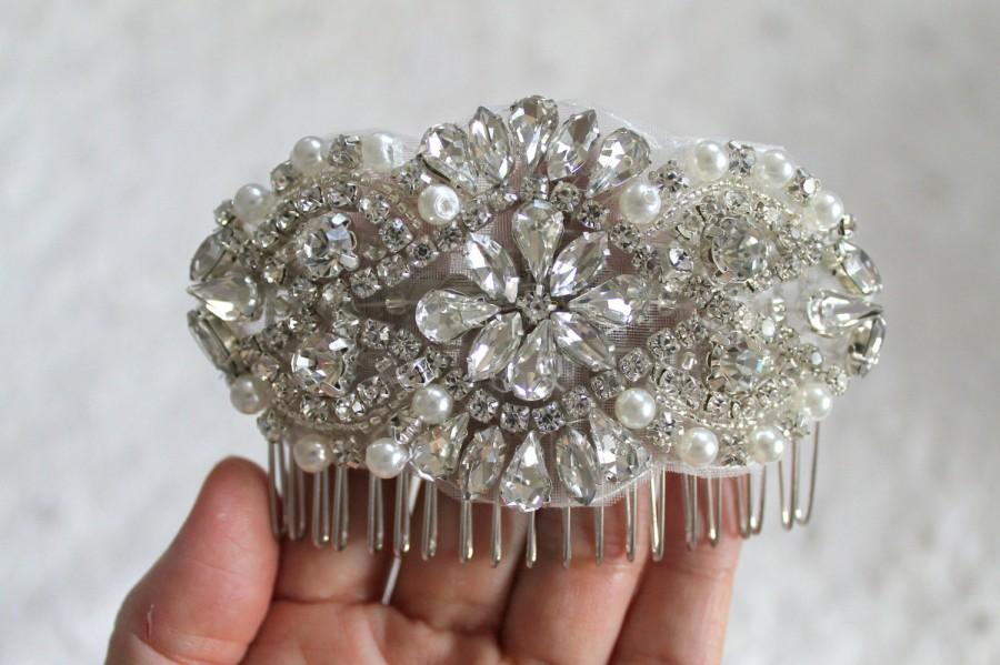 زفاف - Bridal beaded pearl & crystal luxury headpiece. Rhinestone applique wedding hair comb. DUCHESS PETITE.
