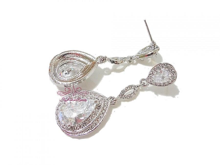 Hochzeit - Bridal Earrings, Dangle Earrings, Bridesmaid Accessories,Teardrop Earring, Swarovski Clear Zircon Earring, Wedding Zircon Earrings ER0017