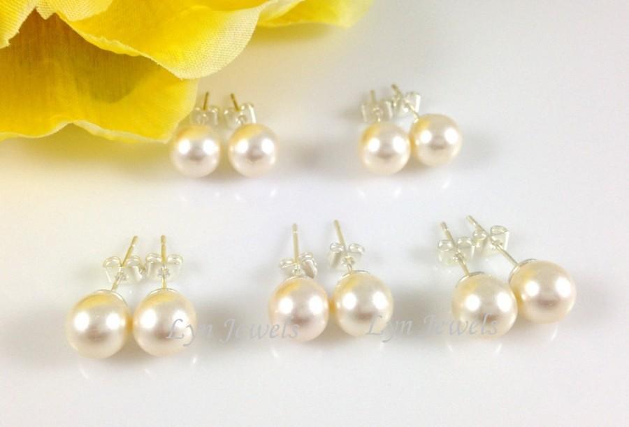 Wedding - Set of 6 Pairs Bridesmaids Pearl Earrings - Bridal Pearl Ear Studs Cream Or White Swarovski Pearls Post Earrings 8mm Flower Girl
