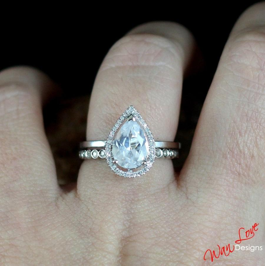 Hochzeit - White Sapphire Diamond Halo Engagement Ring Set Pear Circle band 2.5ct 10x7mm 14k 18k White Yellow Rose Gold-Custom made-Wedding-Anniversary