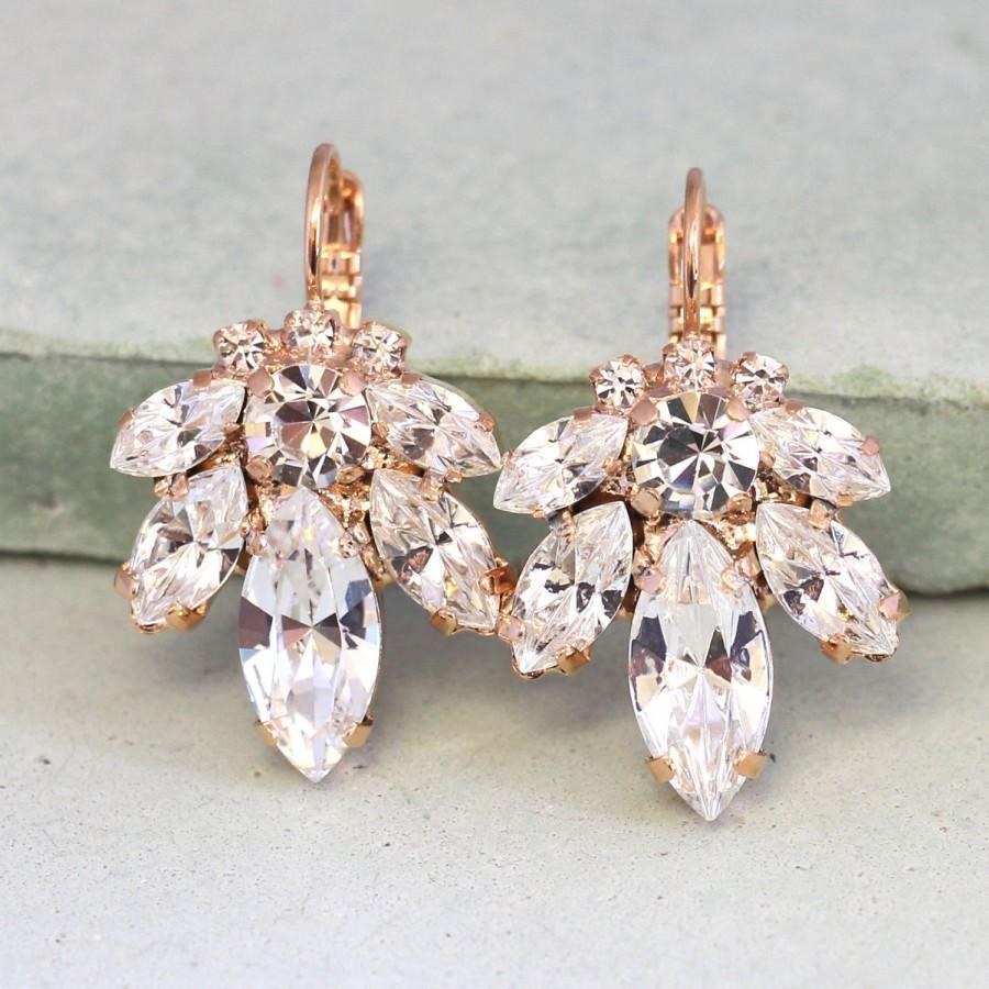 Hochzeit - Bridal Earrings,Bridal drop earrings,Crystal drop earrings,Swarovski crystal drop earrings,Rose gold earrings,Bridal Diamond droplets