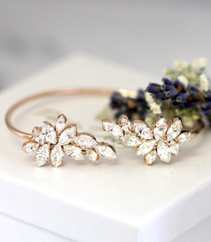 Hochzeit - Bridal Bracelet, White Crystal Wedding Bracelet,Swarovski Crystal Cuff Bracelet,Bridal Cuff Bracelet,Bridesmaids Gold Bracelet,Cuff Bracelet