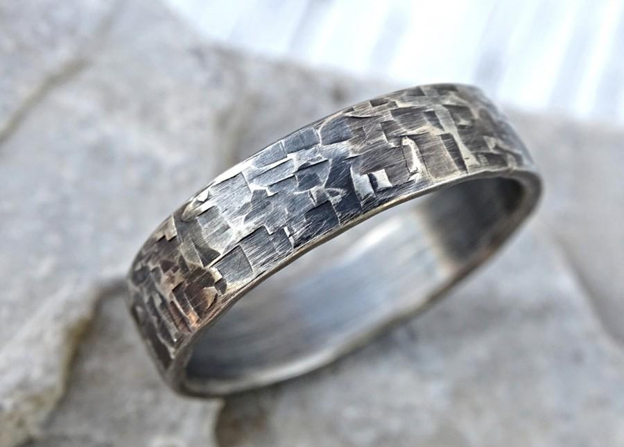 viking mens ring silver industrial wedding band mens promise ring silver forged silver band ring cool mens ring unique structure - Viking Wedding Rings