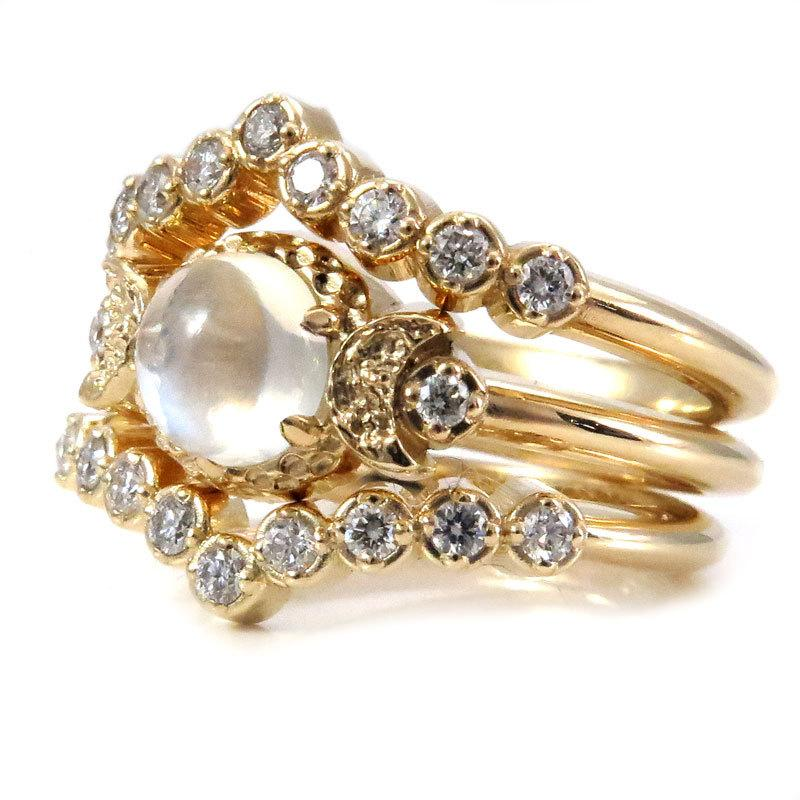 Hochzeit - Crescent Moon and Moonstone Engagement Ring with Double Diamonds Crowns - Modern Wedding Ring Set
