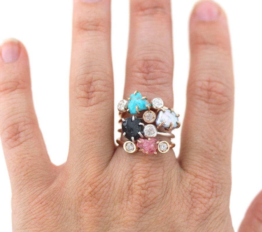 Свадьба - Double Pebble Ring-Alternative Engagement
