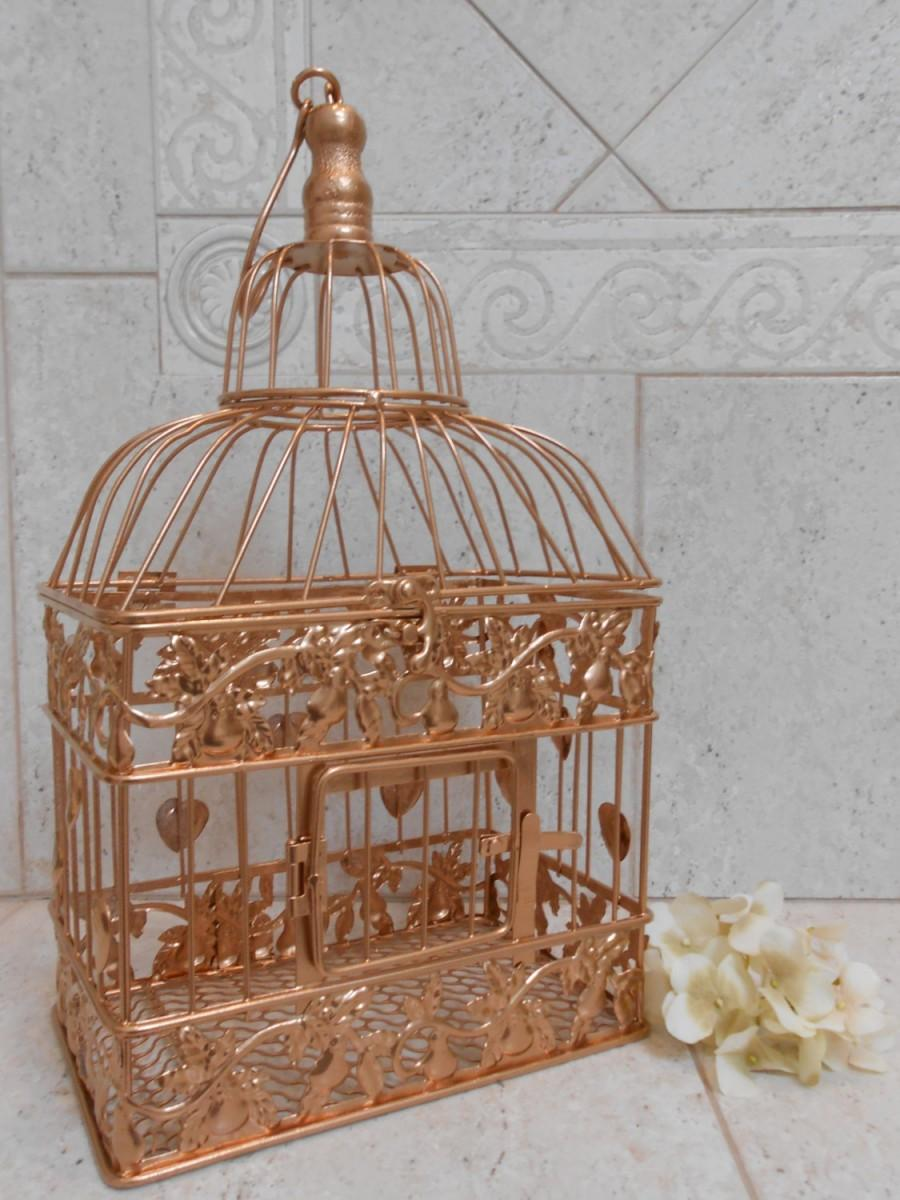 Small Rose Gold Wedding Birdcage Card Holder Wedding Card Box – Birdcage Wedding Card Box
