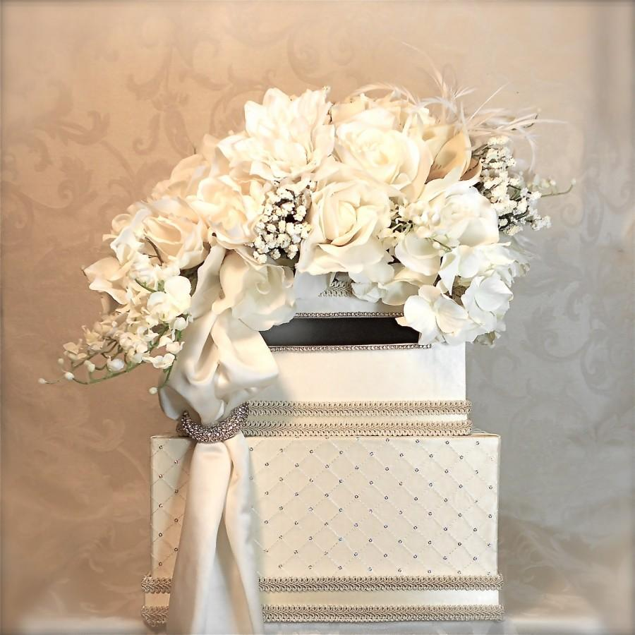 Свадьба - Wedding Card Holder Wedding Money Box Lilly of the Valley Wedding Card Box Elegant Unique Two Tier Custom Card Box Handmade Wedding Gift Box