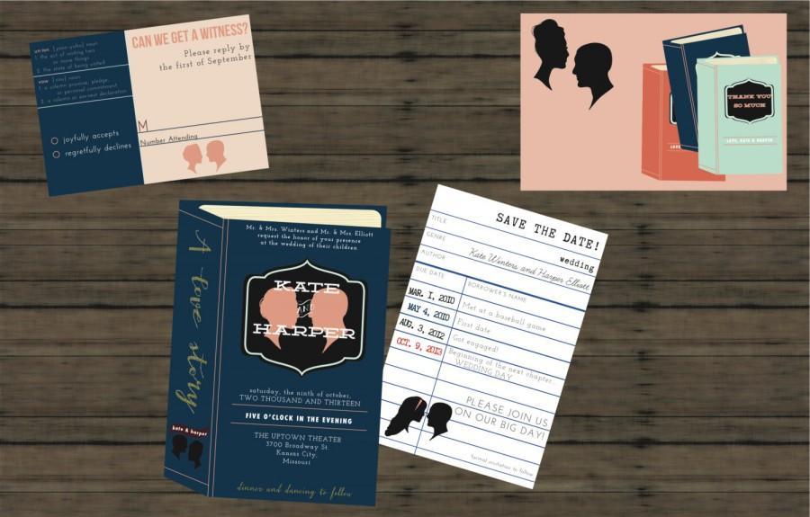 زفاف - Library Wedding Invitation // DOWN PAYMENT toward Printed Sets // Library Wedding, Vintage Wedding, Book Invitation, Library, Modern Wedding