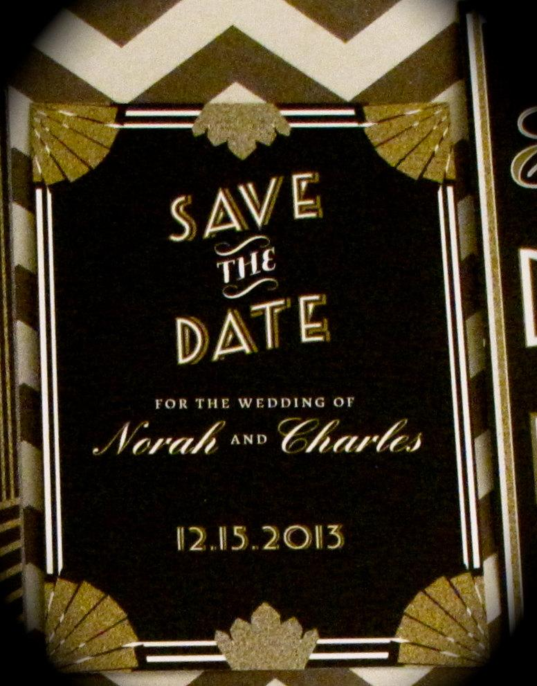 Mariage - Gatsby Wedding Save the Date // 4.25x5.5 Card // DOWN PAYMENT // Art Deco Wedding, Gatsby Wedding