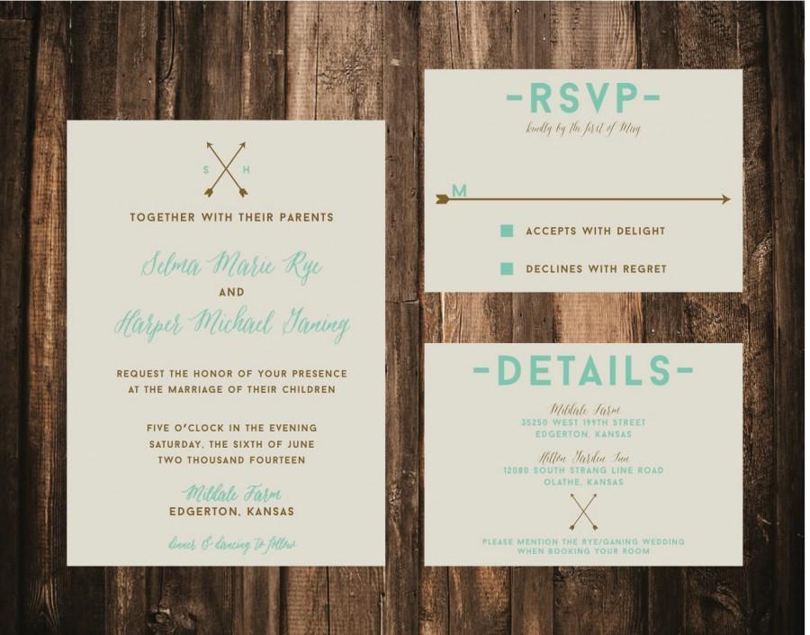 Mariage - Rustic Arrow Wedding Invitation // DIY Printable // Rustic Wedding, Rustic Invitation