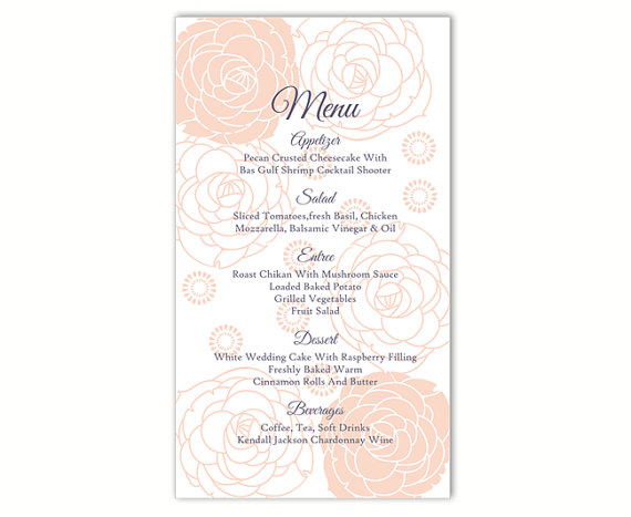 wedding menu template diy menu card template editable word file