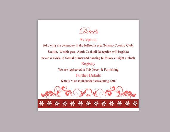 Wedding - DIY Wedding Details Card Template Editable Word File Instant Download Printable Details Card Wine Red Details Card Elegant Enclosure Cards