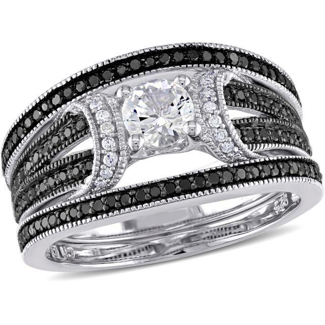 Mariage - White Sapphire And Diamond Sterling Silver Bridal Set