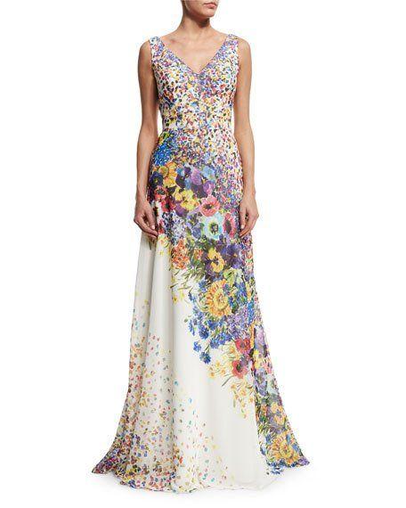 Свадьба - Sleeveless Floral-Print Gown