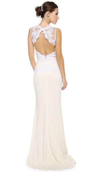 Mariage - Lace Open Back Peplum Gown