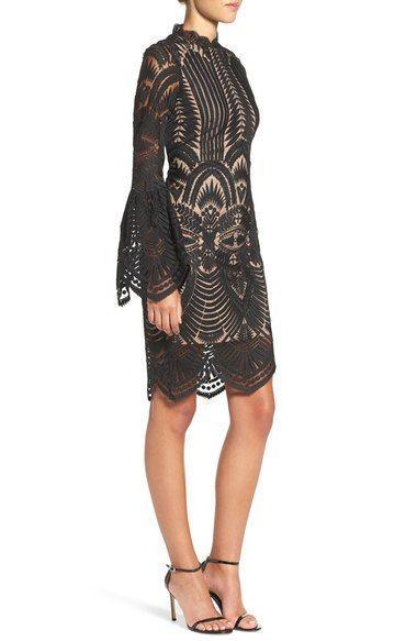 Свадьба - Bell Sleeve Lace Sheath Dress