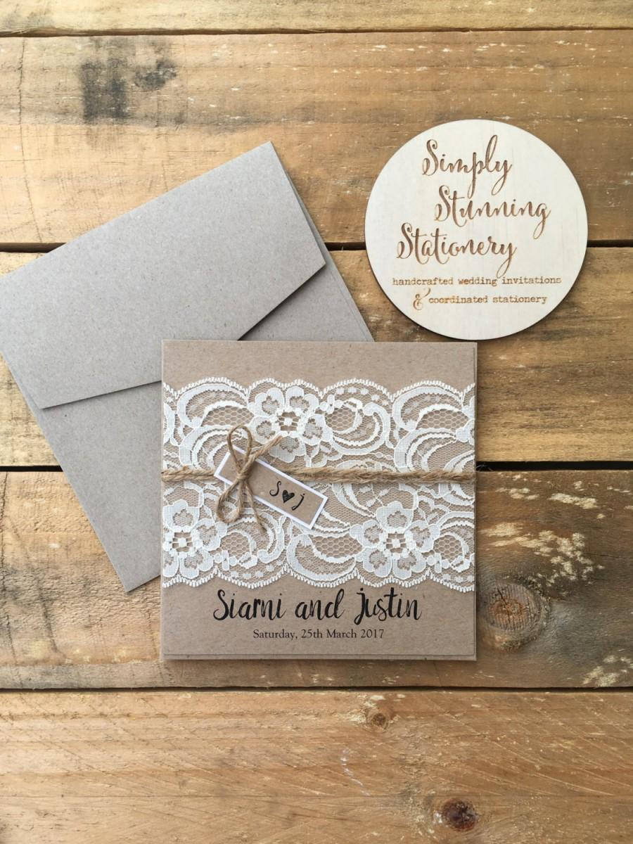 rustic wedding invitation rustic vintage lace square invitation