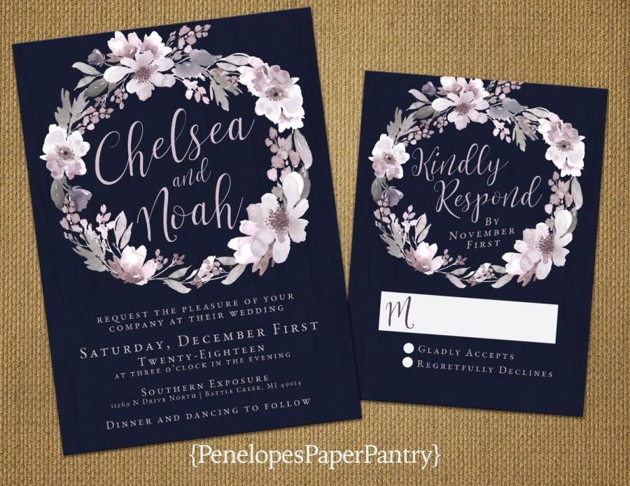Elegant Navy Winter Wedding Invitations Dusty Plum Wintery Gray