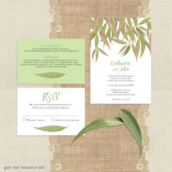 Mariage - gum leaf printable wedding invitation suite leaves eucalyptus green outdoor nature trees forest bush rustic rsvp insert set Australian diy