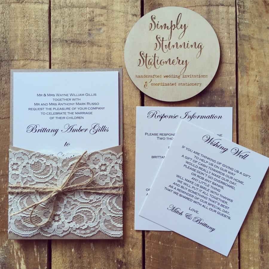 Wedding - Wedding invitation Rustic Kraft pocket wedding invitations - SAMPLE - Rustic vintage lace pocket wedding invitation