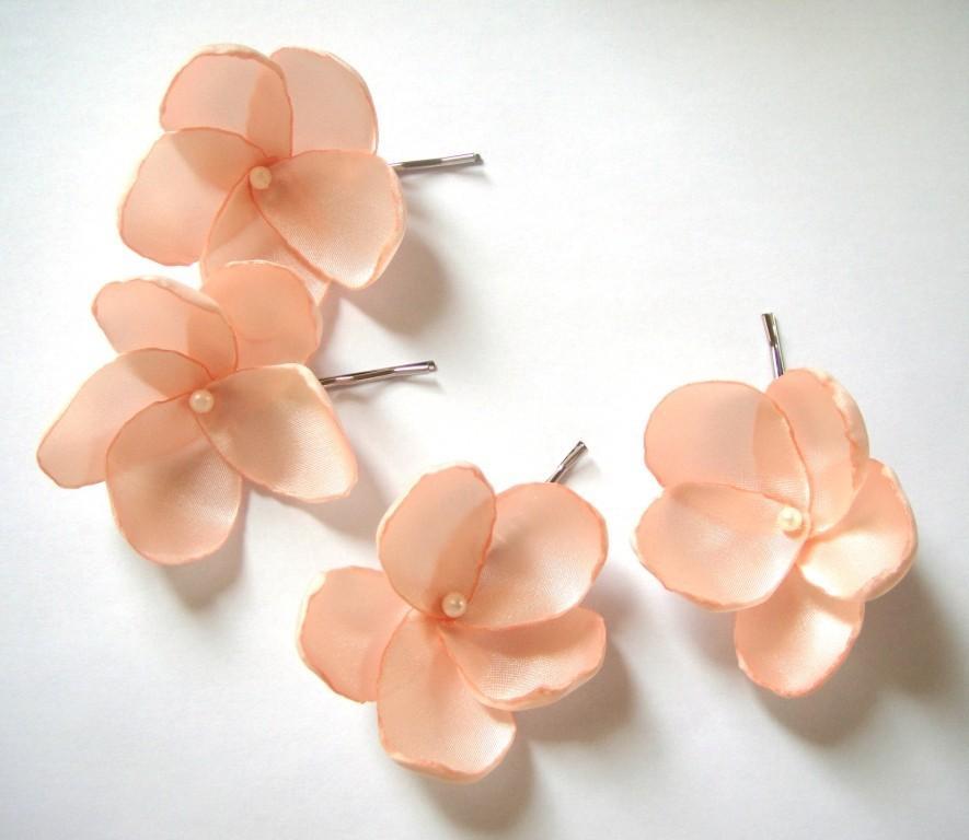 Свадьба - salmon peach rose blossom wedding flower bobby pins (set of 4)