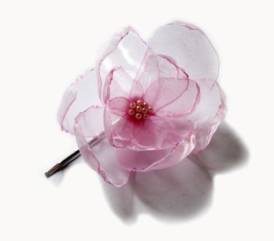 Wedding - romantic pink opal  blush rose blossom flower bobby pin