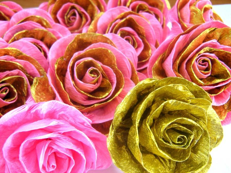 Свадьба - 10 Pink and gold crepe paper rose 1st Birthday Party favor DIY dekor Wall arch paper bridal flower wedding flower bridal bouquet baby shower