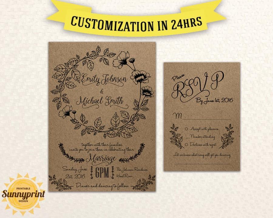 Printable Wedding Invitation Rustic Wedding Invitations With Rsvp Wedding  Invitations Template Wedding Invitation Printable Rustic Wedding